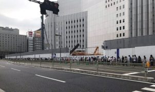 People standing in line for Nintendo Switch in Japan.