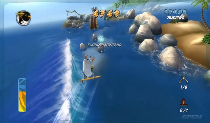 Surf's Up is based on a 2007 kids animated movie. The characters you surf  as are penguins from the movie. Don't judge this game based on the corny ...