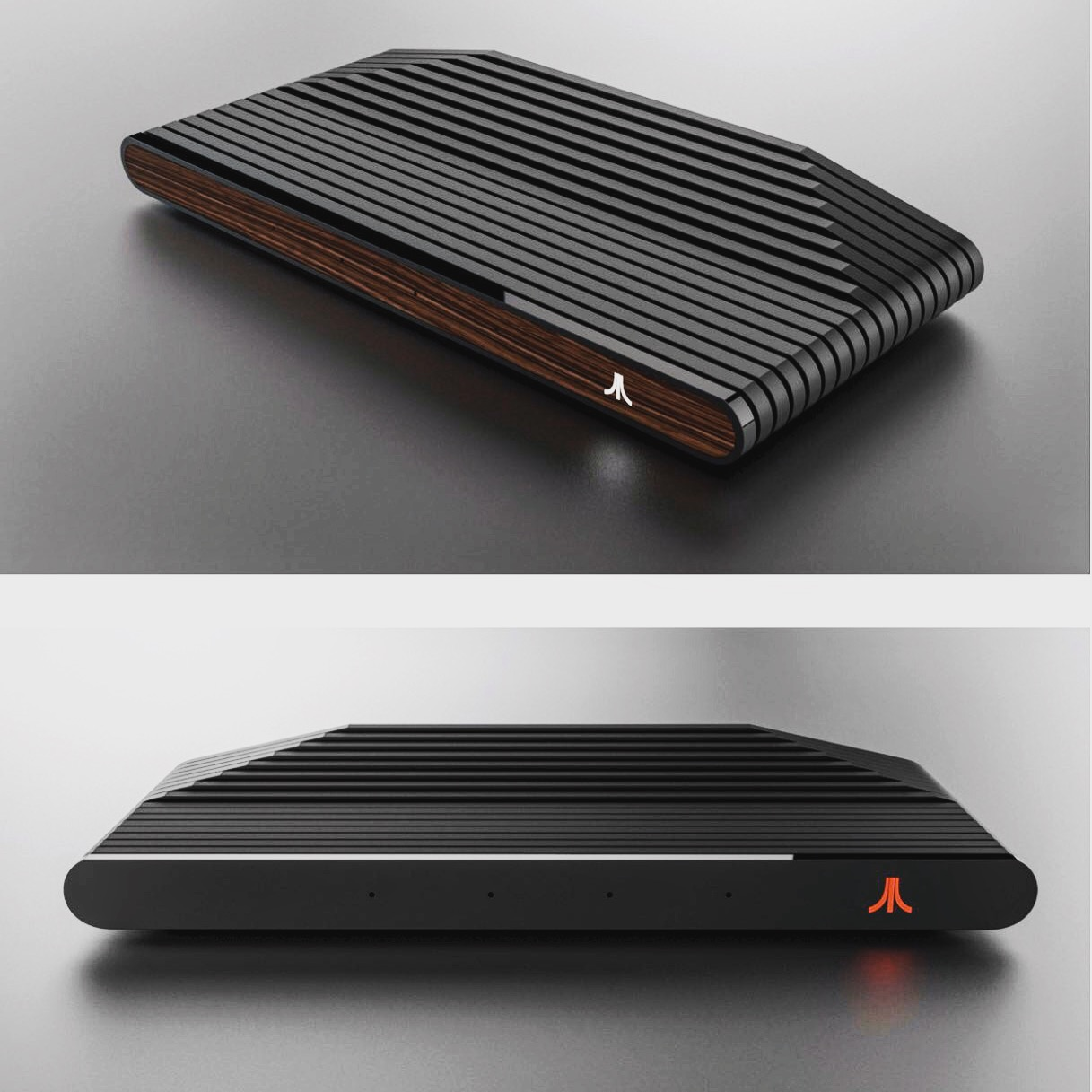 Ataribox Wooden and Read And Black Console